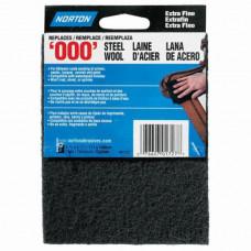 "Norton ""000"" Gray Synthetic Steel Wool Pads, 2Pk"