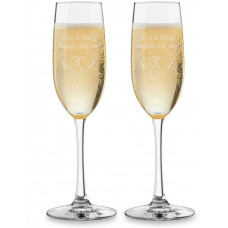 2 Pack Toasting Champagne Flutes - Clear -Personalized
