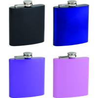 6oz Powder Coated Colored Hip Flasks