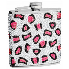 Rhinestone Hip Flask Holders with Leopard Patterns