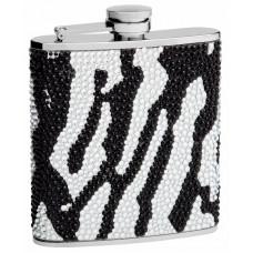 Rhinestone Hip Flask Holding 6 oz - Zebra Pattern Design - Pocket Size, Stainless Steel, Rustproof, Screw-On Cap - Black and White Finish