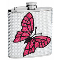Genuine Rhinestones Hip Flask Holding 6 oz - Butterfly Design - Pocket Size, Stainless Steel, Rustproof, Screw-On Cap - White and Pink Finish