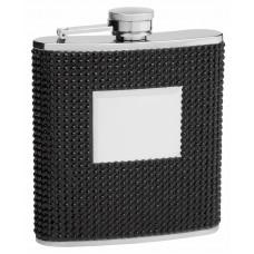 Hip Flask Holding 6 oz - Beaded Rhinestone Design - Pocket Size, Stainless Steel, Rustproof, Screw-On Cap