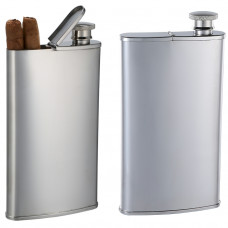 Cigar Case and Drinking Flask Combo - Stainless Steel Finish - Holds 2 Cigars and 4 oz. - Tested Leakproof - Gift Boxed and Engraved/Personalized