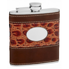 Hip Flask Holding 6 oz - Faux Leather and Faux Alligator Skin Design - Pocket Size, Stainless Steel, Rustproof, Screw-On Cap