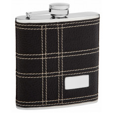 Faux Leather Hip Flask Holding 6 oz - Embossed Design - Pocket Size, Stainless Steel, Rustproof, Screw-On Cap