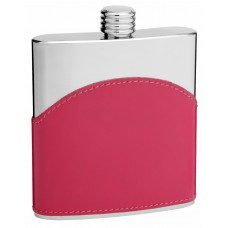 Faux Leather Hip Flask Holding 6 oz - Pocket Size, Stainless Steel, Rustproof, Screw-On Cap - Pink Finish - Perfect for Engraving