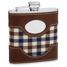 Faux Leather and Cloth Hip Flask Holding 6 oz - Plaid Golf Design - Pocket Size, Stainless Steel, Rustproof, Screw-On Cap