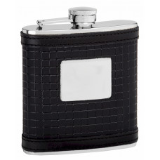 Leather Hip Flask Holding 6 oz - Sophisticated Pattern Design - Pocket Size, Stainless Steel, Rustproof, Screw-On Cap
