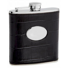 Leather Hip Flask Holding 6 oz - Eel Skin Pattern Design - Pocket Size, Stainless Steel, Rustproof, Screw-On Cap - Black Gift Box Included