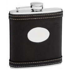 Leather Hip Flask Holding 6 oz - White Accent Stitching Design - Pocket Size, Stainless Steel, Rustproof, Screw-On Cap - Black Gift Box Included