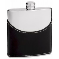 Cow Leather Hip Flask Holding 6 oz - Pocket Size, Stainless Steel, Rustproof, Screw-On Cap - Black and Mirror Polished Finish Perfect for Engraving