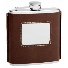 Brown  Leather Hip Flask Holding 6 oz - Traditional Design - Pocket Size, Stainless Steel, Rustproof, Screw-On Cap - Brown Finish Perfect for Engraving