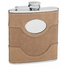 Suede Leather Hip Flask Holding 6 oz - Pocket Size, Stainless Steel, Rustproof, Screw-On Cap - Perfect for Engraving