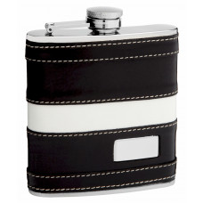 Leather Hip Flask Holding 6oz - Pocket Size, Stainless Steel, Rustproof, Screw-On Cap
