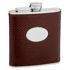 Leather Hip Flask Holders with Snake Skin Patterns