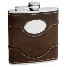 Cow Leather Hip Flask Holding 6 oz - Pocket Size, Stainless Steel, Rustproof, Screw-On Cap - Black Gift Box Included