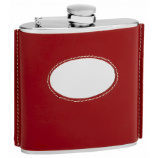 Genuine Red Leather Hip Flask Holding 6 oz - Vintage 1920 Style - Pocket Size, Stainless Steel, Rustproof, Screw-On Cap