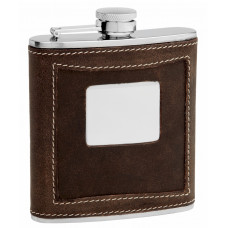 Distressed Genuine Leather Hip Flask Holding 6 oz - Two-Tone Design - Pocket Size, Stainless Steel, Rustproof, Screw-On Cap - Black Gift Box Included
