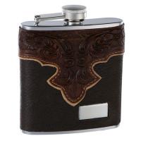 6 Oz. Genuine Brown Leather Hip Flask Holders