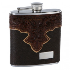 Genuine Brown Leather Hip Flask Holding 6 oz - Classy Embossed Pattern Design - Pocket Size, Stainless Steel, Rustproof, Screw-On Cap - Brown Finish Perfect for Engraving