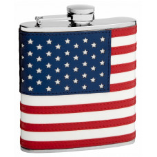 Hip Flask Holding 6 oz - The Patriot American Flag Design - Pocket Size, Stainless Steel, Rustproof, Screw-On Cap - Red, Blue and White Finish