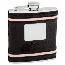 Faux Leather Hip Flask Holding 6 oz - Pink Accent Lines Design - Pocket Size, Stainless Steel, Rustproof, Screw-On Cap