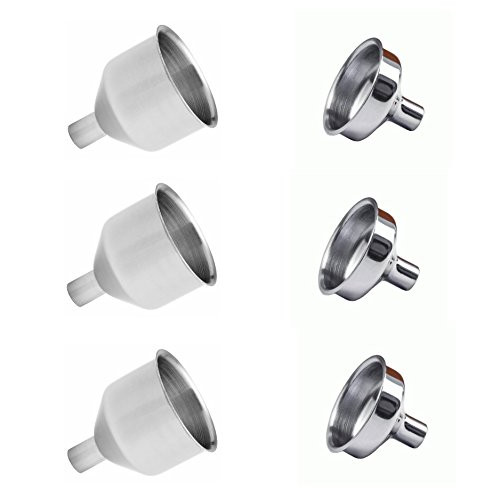 6 Pack of Stainless Steel Funnels for Essential Oils, 3 Tall, 3 Short