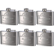 6 PK of 4oz Personalized Engraved Custom Hip Flask