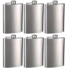 Top Shelf Flasks Stainless Steel Hip Flasks, 8 oz, Set of 6
