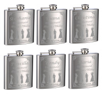 Wedding Flasks for Bridesmaids and Bride, 6 Pack of 6oz Flasks, Personalized
