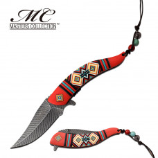 Red Nylon Fiber Handle Knife With Colorful Pattern
