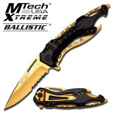 Mtech - Gold Titanium Coated Knife with Black Handle