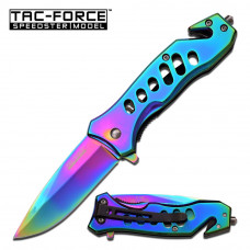 Spring Assisted Titanium Rainbow Knife by TAC-FORCE