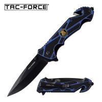 Police Blue - Folding Pocket Knife with Spring Assist