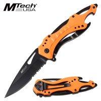 Mtech Spring Assisted Knife with Neon Orange Handle