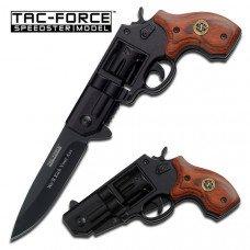 TAC-FORCE  Wood Handle - Revolver Gun Style Knife