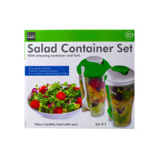 2 Pack Salad Container Set with Dressing Containers & Forks