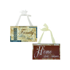 Family & Home Wood Sign with Ribbon Hanger