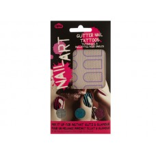 Striped Nail Art Glitter Nail Tattoos Kit