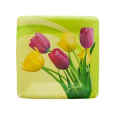 Blooming Tulips Square Lunch Plates Set