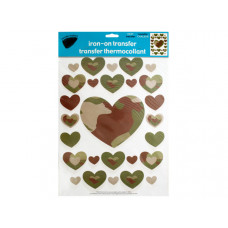 Iron-On Camouflage Hearts Transfers