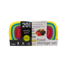 20-Piece Variety Pack Food Storage Containers Set