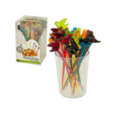 Colorful Bird Fruit Picks with Holder