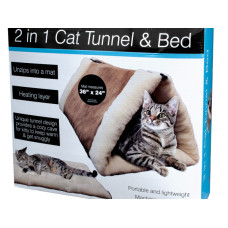 2 In 1 Cat Tunnel & Bed with Heating Layer