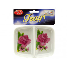 Double-Sided Rose Print Sauce Trays Set