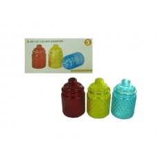 Lidded Glass Canisters with Lattice Texture