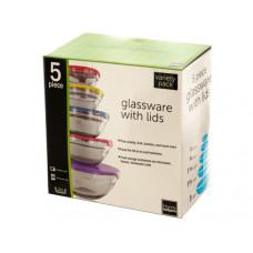 Nesting Glassware with Lids Set