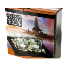 Zen Candle Holder Set with Stones & Tray