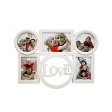 White Love Collage Photo Frame